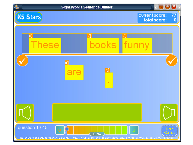 Click to view Sight Words Sentence Builder 1.1 screenshot